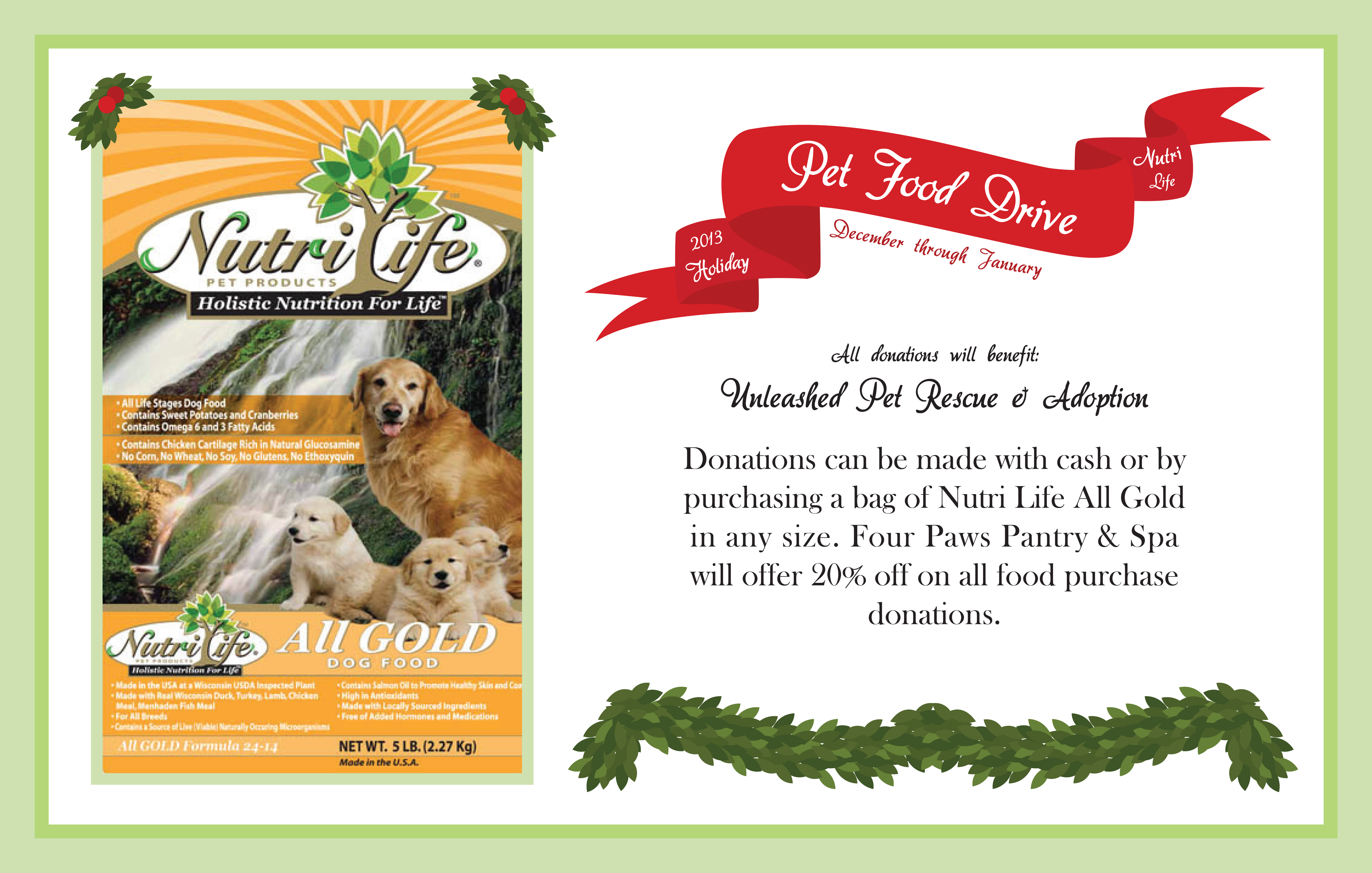 Holiday Pet Food Drive 4paws