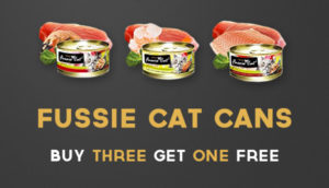 Fussie Cat Canned Food: Buy three cans and get one free
